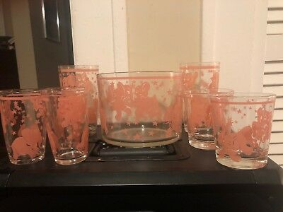 Vintage Pink Elephants Barware Set Ice Bucket & Glasses Hazel Atlas Kitsch