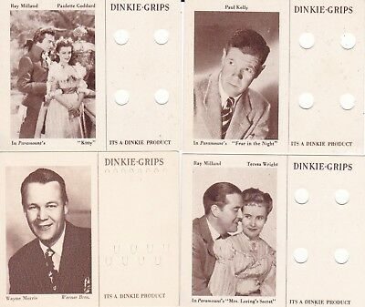 "LOT of 1940s  DINKIE-GRIPS curlers & wavesetters ' MOVIE STAR"" cards ( 4 )"