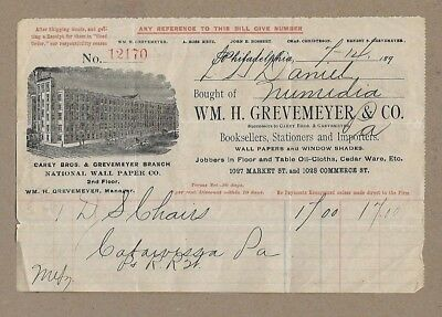 Wm H Grevemeyer Wall Paper Stationery Philadelphia Pa 1899 Billhead Receipt Bill