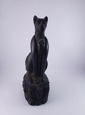 RARE ANTIQUE ANCIENT EGYPTIAN Cat Goddess Bast-Bastet Hold Cobra 715 Bc