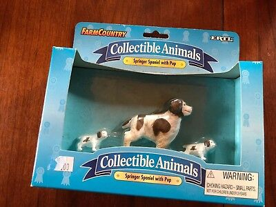 NIP Ertl Farm Country Collectible Animals Springer Spaniel With Pup Dog Figures