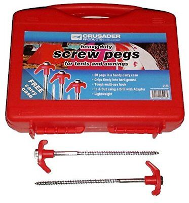 Crusader Heavy Duty Screw In Rock Pegs 20 Pack For Tents & Awnings Hard Ground