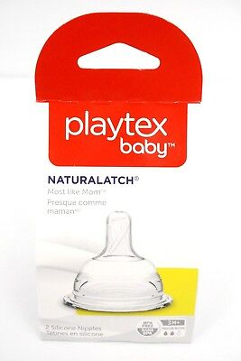 Playtex Baby NaturaLatch 2 Pack Medium Flow Natural Latch Bottle Nipples 3M+ NEW
