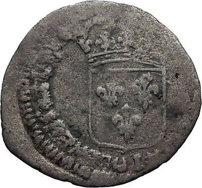 1693-1705 FRANCE Sun King LOUIS XIV Silver 15 Deniers Antique FRENCH Coin i71860