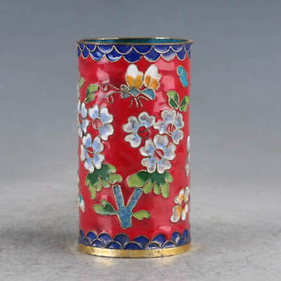 Chinese Cloisonne Hand-made Flowers Brush Pots JTL1014