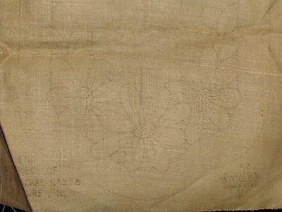 Vtg Art Deco Stamped Linen Table Runner Scarf Embroidery Cross Stitch Floral Set