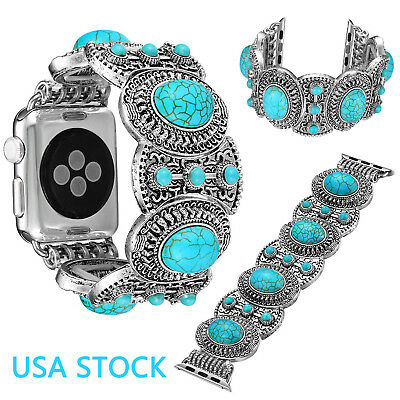 US Turquoise Silver Plated Band for iWatch Series 1 2 3 4 Apple Watch Strap Belt