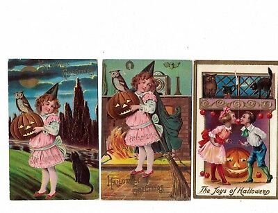 Group of 3 Halloween Post Cards Embossed Girl 2 Are P Sanders NY & Conway 1909