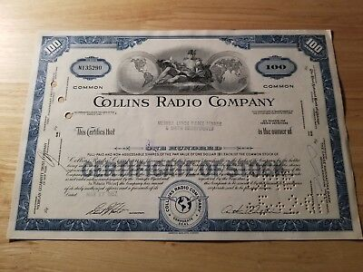 Vintage Collins Radio Co Share Certificate 1967