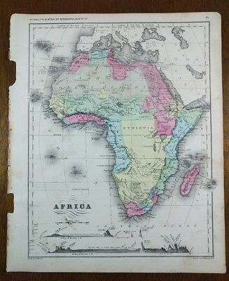 1875 AFRICA Map MCNALLY Old Antique CAPE TOWN CAIRO EGYPT MOROCCO VICTORIA MAPZ
