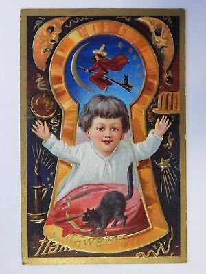 Antique Halloween Postcard w/ Black Cat Witch Jack o Lantern