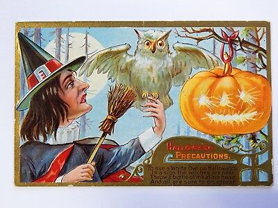 Antique Halloween Precautions Postcard -Witch White Owl Jack o Lantern Full Moon
