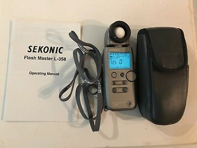 Sekonic Flash Master L-358 Light Meter used With Case, strap, and manual!