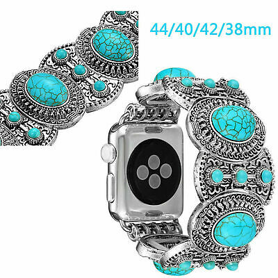 40/44mm 38/42mm Silver Plated Turquoise Gems Strap for Apple Watch Band Bracelet