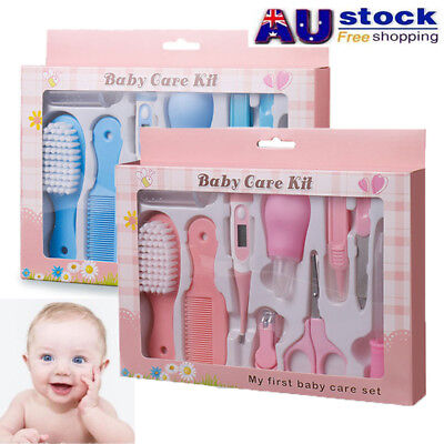 10pcs Baby Infant Nail Hair Health Care Set Grooming Thermometer Brush Kit New