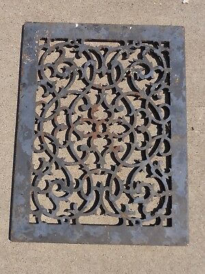 Antique Ornate Cast Iron 10 x 14 Victorian Cold Air Return Floor Grate Register
