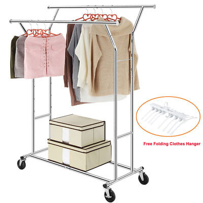 US Heavy Duty Commercial Clothing Rolling Collapsible Garment Rack Double Rail