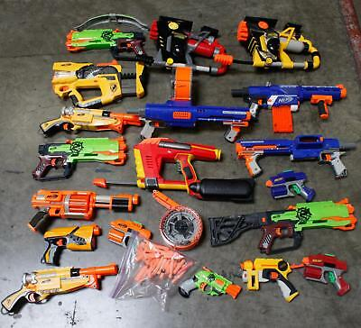 Nerf Blaster Gun Lot of 19 N-Strike  Drums Darts Rapidfife Raider CS-35 Firefly