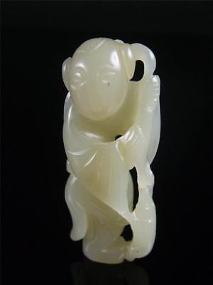 Antique Old Chinese Celadon Nephrite Jade Statue Toggle FAIRY BOY W/ COINS