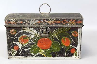 A Rare 19Th C Ct Paint Decorated Toleware Dome Top Document Box Original Paint