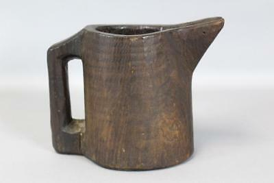 Rare 18Th C American Hand Carved Wooden Pitcher Or Noggin Grungy Original Paint