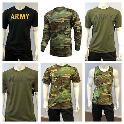 Mens Military Army Short Sleeve T-Shirt Tee Tank Outdoor Gym Training Boot Camp