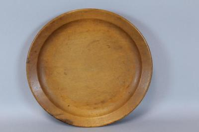 A Great Early 18Th C American Turned Maple Plate Early Rim Design In Old Surface