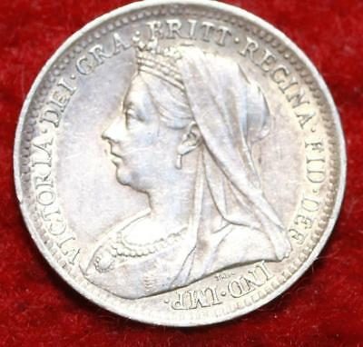 1900 Great Britain 3 Pence Silver Foreign Coin