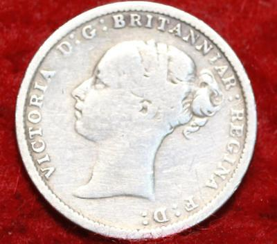 1884 Great Britain 3 Pence Silver Foreign Coin