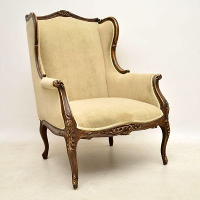 Antique French Distressed Painted Wing Armchair