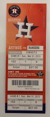 3-31-2013 Houston Astros Opening Day Ticket