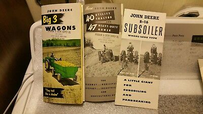 Three 1953 John Deere Manuals. Big 3 Wagons, S 16 Subsoiler, 40 Tractor