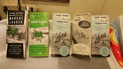 Five 1954 John Deere Manuals. Snow Plow, Manure Spreader, Bulldozer, Subsoiler