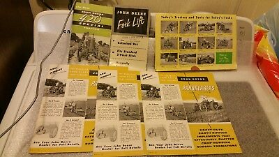 "Six 1955 John Deere Manuals. ""420"" Tractor,  Fork Lift, Panbreakers,"