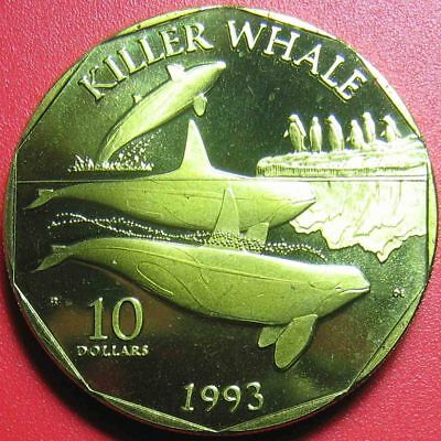 """1993 Marshall Islands $10 """"Killer Whale"""" Pacific Whales & Dolphins Brass Scarce!"""