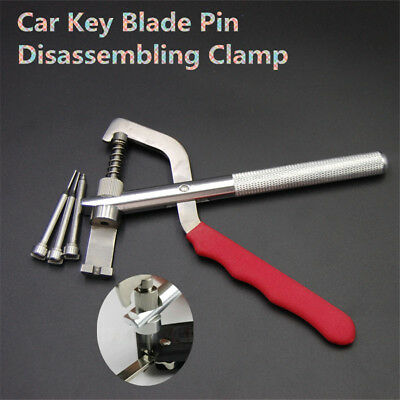 Universal Professional Car Key Blade Pin Disassembling Clamp Lock Tool+3Pcs Pins
