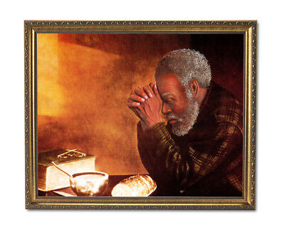 Daily Bread Black Man Praying Dinner Table Wall Picture Gold Framed Art Print