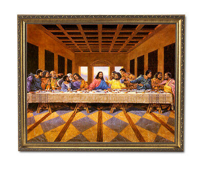 Black Last Supper Jesus Christ Religious Wall Picture Gold Framed Art Print