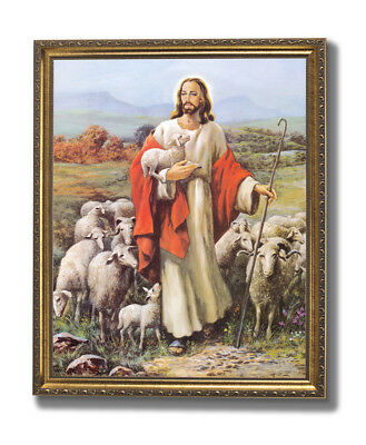 Jesus The Shepherd With Baby Lambs Religious Wall Picture Gold Framed Art Print