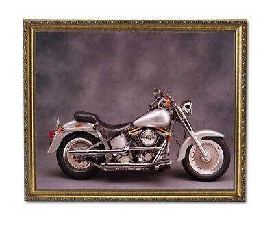 Silver Harley Davidson Fatboy Motorcycle Wall Picture Gold Framed Art Print