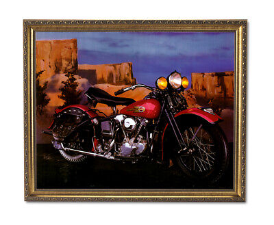 Knucklehead Harley Davidson Motorcycle Wall Picture Gold Framed Art Print