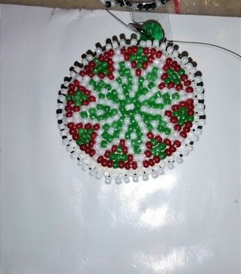 HAND BEADED NAME badge holder Native American red green white