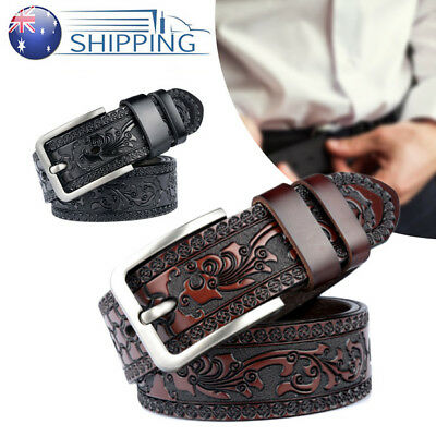 Hot Fashion Western Embossed Tooled Leather Belt Strap Jeans Belt 100-125CM AU