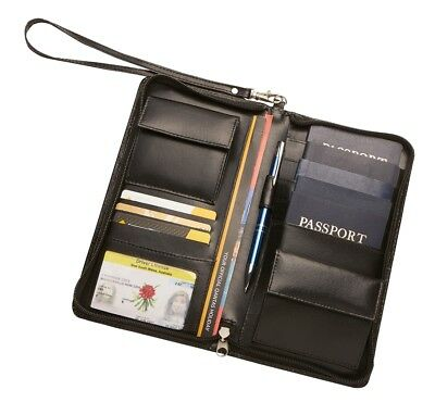 Genuine Leather Family RFID Travel Wallet Passport Holder Free Luggage Tag