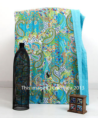 Indian Handmade Patchwork Twin Size Floral Paisley Kantha Quilt Throw Bedspread