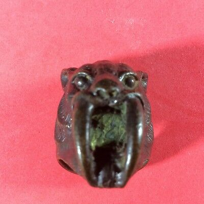 Ring Tiger Lion King Amulet Antique Brass Thai Antique Lucky Power Ornament