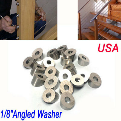 20pc-T316 Stainless Steel 30 Degree Angled Washer 1/8 3/16 Fitting Cable Railing