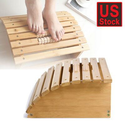 Ergonomic Bamboo Foot Rest Office Home Footrest Relax Under Desk Foot Stool US
