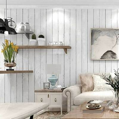 Rustic Striped Wood Plank Wallpaper Off White Wood Panel Wallpaper Roll 10m