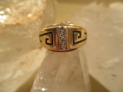 Everbrite 14K Gold, Greek Key Pattern Diamond Ring Size 6.5